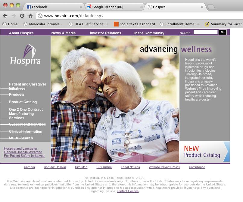 Hospira.com Before